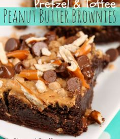 Fudgy Brownies topped with creamy peanut butter, pretzels, chocolate chips and toffee bits!