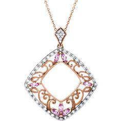 14K Yellow Pink Sapphire & 1/3 ct tw Diamond Pendant | Stuller.com