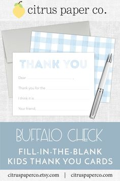 These fill-in-the-blank thank you cards are perfect for teaching your little one how to write a thoughtful thank you note! Each set includes your choice of envelope color, and is packaged in a clear plastic box, perfect for gift-giving! Kids Stationery, Personalized Stationery, Personalized Items, Thank You Cards From Kids, Thank You Notes, Papers Co, Your Cards, Card Stock, Baby Kids