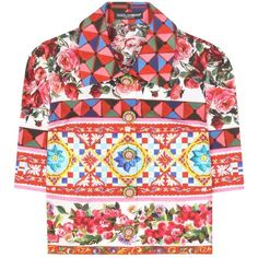 Dolce & Gabbana Cropped Cotton Blouse ($1,285) ❤ liked on Polyvore featuring tops, blouses, multicoloured, cotton blouse, cut-out crop tops, dolce gabbana blouse, colorful crop tops and multicolor blouse