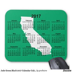 Jade Green Black 2017 Calendar California Mouse Pad