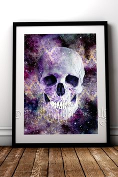 Dead Space 2.0 Skull fine art print for your alternative home decor #RockChicBoutique #GalaxyArt #Skulls #WallArt #GothicHomeDecor