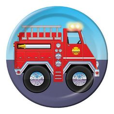 7 inch Lunch Plates Firefighter/Case of 96