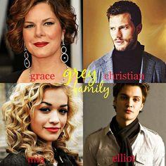 Christian Grey's movie family: Jamie Dornan as Christian Grey, Luke Grimes as Elliot Grey, Rita Ora as Mia Grey and Marcia Gay Harden as Grace Grey, Christian's mom. #fiftyshades #movie #news