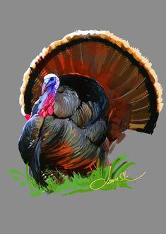 Wild turkey by Jeeva ArtistToday's wild digital painting. Turkey Bird, Turkey Craft, Wild Turkey, Turkey Drawing, Turkey Painting, Wildlife Paintings, Wildlife Art, Bird Paintings, Turkey Meatloaf