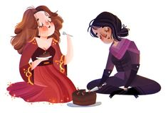 Nina and Inej and cake