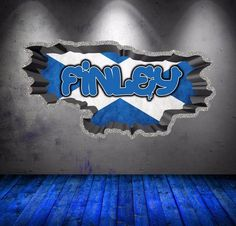 Personalized / Customized Name Graffiti Wall Decals Stickers Scottish Flag Childrens Wall Decals, 3d Wall Decals, Framed Wall Art, Wall Stickers, Wall Murals, Graffiti Lettering, Graffiti Wall, Personalized Wall Decals, Graffiti Designs