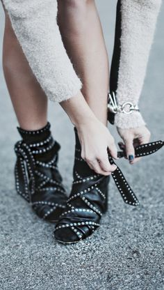 Mary Seng is wearing leather ankle boots from Isabel Marant