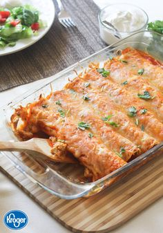 Making a home-cooked meal from scratch doesn't have to mean being in the kitchen for hours. In fact, there are so many delicious meals you can make with just a handful of basic ingredients, like these 5-Ingredient Chicken Enchiladas from Inspired Gathering! You'll love whipping up this delicious meal during those busy weeknights. Casserole Recipes, Chicken Casserole, Rotisserie Chicken Enchiladas, Chicken Burritos, Beef Enchiladas, Mexican Dishes, Mexican Food Recipes, Dinner Recipes, Healthy Recipes
