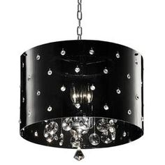 ORE International Black Modern/Contemporary Chandelier at Lowe's. This sophisticated ceiling lamp features a black shade with faux crystals. This lamp creates a luxurious and a starlit sensation to the environment. Metal Ceiling Lamp, Lamp, Contemporary Crystal Chandelier, Ceiling Pendant Lights, Crystal Ceiling Lamps, Chandelier, Crystal Lamp, Drum Chandelier, Ceiling Lights