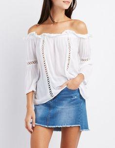 Crochet-Inset Off-The-Shoulder Top #boho #gypsy #sale #afflink