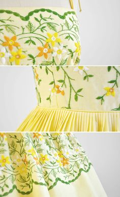 1950s dress / 50s dress / Yellow Cotton Cupcake Party Dress