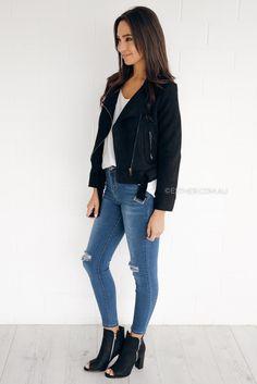 513774e78c73 gaby suede biker jacket - black – Esther Boutique