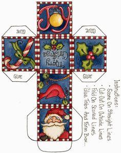 Printable print and cut cube christmas box Christmas Paper Crafts, Christmas Art, All Things Christmas, Holiday Crafts, Christmas Decorations, Christmas Ornaments, Christmas Boxes, Printable Box, Miniature Christmas
