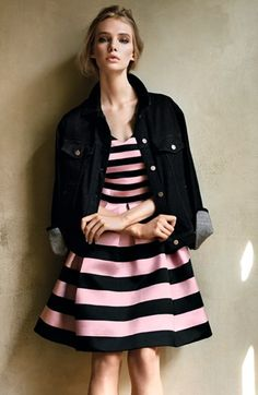 Stripe Satin Fit & Flare Dress Nordstrom buy to match lylas lilly p easter dress All About Fashion, I Love Fashion, Passion For Fashion, Womens Fashion, Cute Dresses, Cute Outfits, Dress Outfits, Nordstrom Dresses, Fit Flare Dress