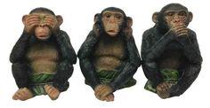 See Hear Speak No Evil Monkeys Three Wise Ape Of Jungle Figurine Set Sculptures Monkey Statue, Three Wise Monkeys, Monkey 3, See No Evil, Nursery Rhymes, Fairy Tales, Whimsical, Sculptures, Animals