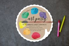 """""""Arty Party"""" - Customizable Children's Birthday Party Invitations by Jen Owens. Diy Birthday Invitations, Art Party Invitations, Birthday Party Themes, Invitation Ideas, 8th Birthday, Kunst Party, Artist Birthday, Craft Party, Party Time"""