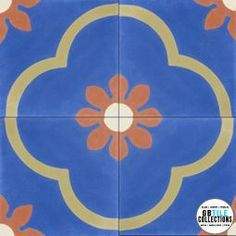 Original Mission Cement Field Tile - Two Flowers