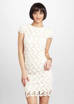 SUZI CHIN Crocheted Overlay Dress...bridal shower dress???