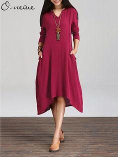 da1e481497 Women Plus Size Maxi Dress Casual Irregular Boho Dresses Layered ...