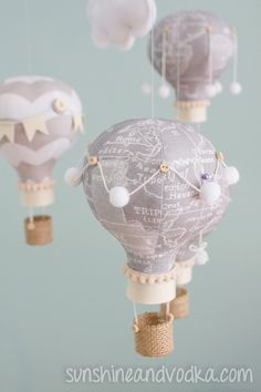 Heirloom baby mobile hot air balloon baby mobile map fabric heirloom baby mobile hot air balloon baby by sunshineandvodka 12500 world map fabricold gumiabroncs Images