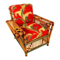 Stick Reed Rattan Lounge Chair with Magazine and Drink Holder