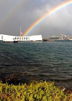 """Today we remember those who lost their lives, """"the day that will live in infamy"""", on December 7th, 1941, Pearl Harbor. Shown: Pearl Harbor Memorial (above the sunken USS Arizona)"""