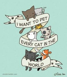 I want to pet every cat in the world. Link is incorrect but source is by rohankz on redbubble.