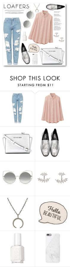 """""""Loafers"""" by camillatinedo ❤ liked on Polyvore featuring Topshop, Uniqlo, MICHAEL Michael Kors, Marc Jacobs, SonyaRenée, Feathered Soul, Essie and Native Union"""