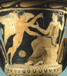 Calyx-krater (large vase) by the Villia Giulia Painter depicting Athena and a winged spirit. Red-figure pottery from Cerveteri (Lazio). Etruscan Civilisation, 4th Century BC. Artwork-location: Paris, Musée Du Louvre