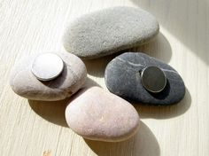 4 Natural Pebble Magnets  Unique Gift From Israel by classica, $12.00