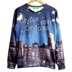 Chase Your Dreams Kitty Cat Wishing Upon A Star Print Pullover Sweatshirt Sweater | Gifts for Animal Lovers