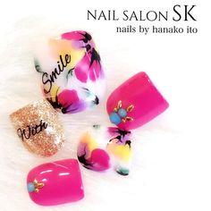 hananailさんの夏,フラワー,ピンク,サンプルチップネイル♪[1059363]|ネイルブック