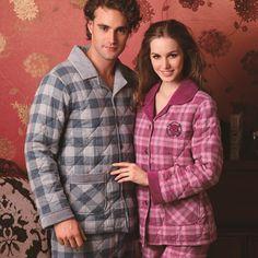 Winter woven plaid cotton-padded lovers sleep d21819d lounge set