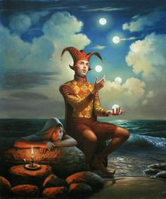 """Moon Charmer"" -- by Michael Cheval (b.1966, Russian/German) now resides in USA; absurdist, surrealist"