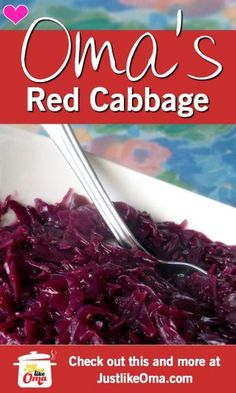 ❤️ German Red Cabbage Recipe made Just like Oma This German red cabbage recipe uses apples to enhance the flavor. Easy to make and tastes absolutely best when reheated the next day. German Red Cabbage Recipes, Purple Cabbage Recipes, Pickled Red Cabbage, Danish Red Cabbage Recipe, German Cabbage Rolls, Sweet And Sour Cabbage, Braised Red Cabbage, Red Cabbage Salad, Salads
