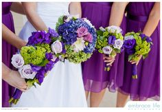 www.infiniteloveweddings.com Infinite Love Wedding Coordinating & Consulting Purple Flowers Wedding purple bridesmaids blue green flowers