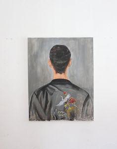 acrylic on canvas large paint 90 x 70 man back original artwork handmade back portrait unique flower kimono