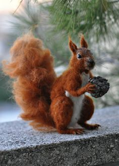 Needle Felted Wool Animal. Red squirrel. Soft by darialvovsky