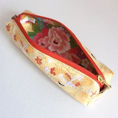 Pen case made from brocade with Japanese Traditional Pattern of crane.