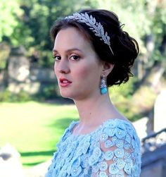 Blair Waldorf in the Arielle Headband by Jennifer Behr :: Gossip Girl :: headband :: headwrap :: New York :: crystal :: silk :: hair :: beauty :: wedding :: bridal :: bride :: updo