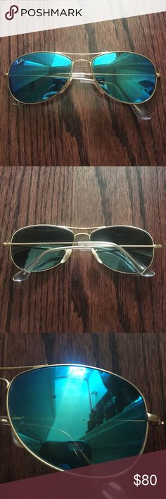 Ray-Ban: Aviator Bleu Flash Sunglasses One Size; Colours: Bleu, Clear, & Gold; Flaws: Some Scratches Ray-Ban Accessories Sunglasses