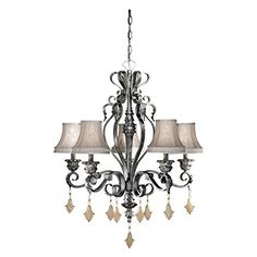 Vaxcel USA MMCHS005AE Montmarte 5 Light Traditional Chandelier Lighting Fixture in Bronze Silk *** You can find out more details at the link of the image.