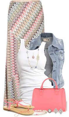 Denim vest, white t-shirt, colourful maxi, necklaces, coloured cute bag