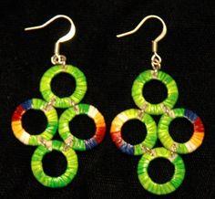 Quadruple Circle Earrings, quilled,     Marion Red Cloud, Lakota