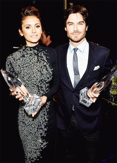 Nina Dobrev and Ian Somerhalder @ People's Choice Awards 2014