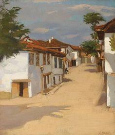 Landscape with Houses at Balcic - Constantin Artachino Art Database, Vermont, Impressionism, Roman, Art Gallery, Landscape, Artwork, Painting, Google