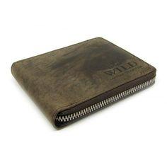 Tmavě hnědá kožená peněženka pánská na zip - peněženky AHAL Money Clip, Zip Around Wallet, Money Clips