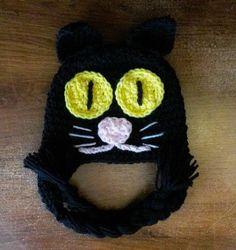 Black Cat Halloween Cat Crochet Cat Hat by MyLittleHeartStrings, $16.00