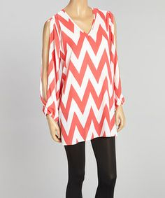Look what I found on #zulily! Coral & Ivory Zigzag Cutout Tunic by Adrienne #zulilyfinds